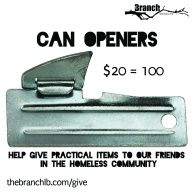 Help us give essential practical items, including can openers, to our homeless friends. Click the above image to donate today.